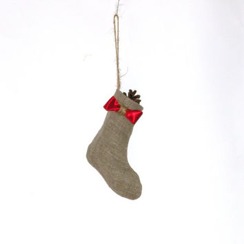 #Christmas #ornament - christmas #tree ornament, #Linen #Mini #burlap #stocking, #christmas, #rustic ornament, #small stocking, #red #bow