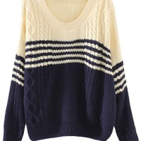 Two-Tone Striped Cable Sweater - OASAP.com