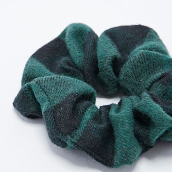 Buffalo Check Scrunchie in Black and Green - Urban Outfitters