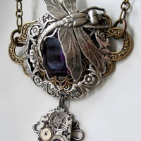 Amethyst Dragonfly Steampunk Necklace by steamheat on Etsy