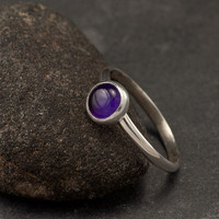 Amethyst Ring- Sterling Silver Ring- Purple Stone Ring- February Birthstone Ring- Handmade Silver Jewelry- sizes 6, 7, 8