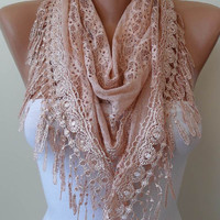 Hand Dyed Lace- Two Color Lace Batik Salmon Scarf - Laced Fabric - with Salmon Trim Edge