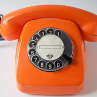 Soviet Rotary Dial Telephone, Orange Telephone