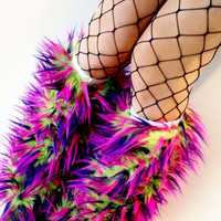 Rave Fluffies uv lime, purple, & hot pink fluffy legwarmers monster fur furry bootcovers fuzzy boots gogo