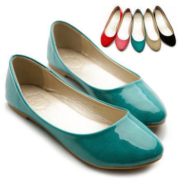 NEW Womens Shoes Ballet Flats Loafers Basic Light Low Heels Enamel Multi Colored