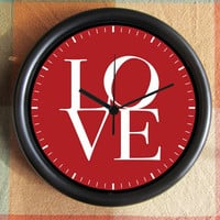LOVE  red  Etsy 10 inch Resin Wall Clock Under 25.00