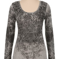 Maurices Premium embellished flocked long sleeve tee