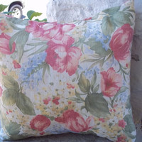 Floral Pillow Cover 16 Inch Square Upcycled 16 X 16