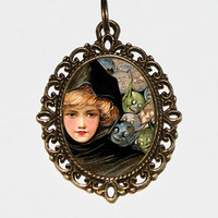 The Goblin Witch, Halloween Jewelry, Goblins, Witch, Horror, Spooky, Oval Pendant