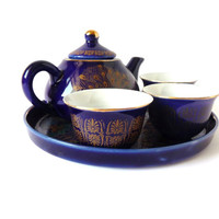 Vintage Tea Set, Signed, Blue Golden, Small Miniature Mini Teapot Pot Plate Cups, China Chinese Oriental Asian