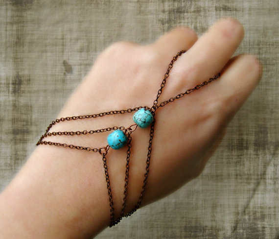 copper and turquoise slave bracelet, bracelet ring, slave ring, turquoise jewelry, hand piece