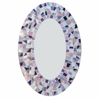 Pink and Purple - Oval Mosaic Mirror - Made to Order