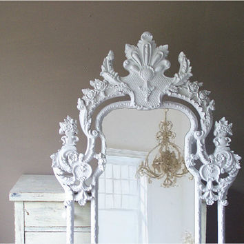 Vintage Rococo Mirror, Baroque, Shabby Chic, Huge Leaning Mirror, Large Vintage Mirror