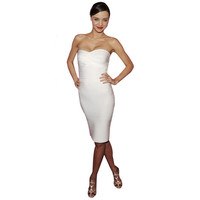 Bqueen Strapless Bandage Dress White H011B