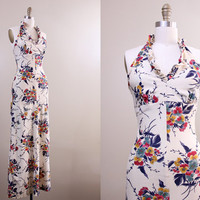SALE vintage floral gown / 70s backless halter dress / Garden Goddess / 1970s maxi dress XS