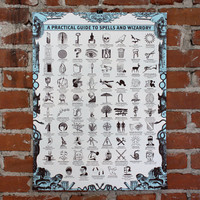 A practical Guide To Spells and Wizardry- Handprinted art print
