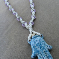 Hamsa Ceramic Bottle Pendant with Purple Glass - Hemp Macrame Necklace - Natural Bohemian Woodland