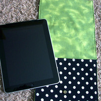 iPad Tablet E-Reader Pocket -- Black and White Polka Dots with Green Interior