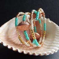 Copper and Turquoise Green Bracelet:  Ornate Copper Beaded Stacked Wrap Cuff Bracelet, Autumn Jewelry, Arm Candy, Wrist Party