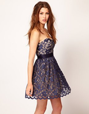Bandeau Dress on Elise Ryan Sweetheart Bandeau Lace Skater Dress At Asos Com On Wanelo