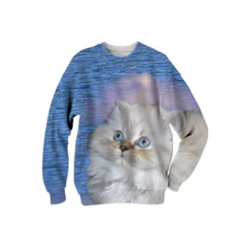 White Cat and Blue Water Sweatshirt created by ErikaKaisersot | Print All Over Me