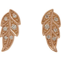 Diamond & Pink Gold Tree Of Life Button Earrings
