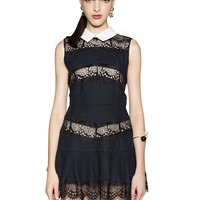 Peter Pan Collar Navy Lace Dress