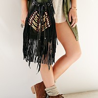 Cut N' Paste Leather Bead Fringe Bucket Bag - Urban Outfitters