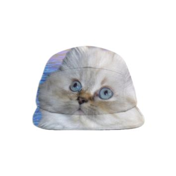 White Cat and Blue Water Baseball Hat created by ErikaKaisersot | Print All Over Me