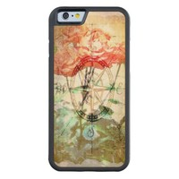 Map, Compass, Roses Carved iPhone 6 Bumper Wood Case