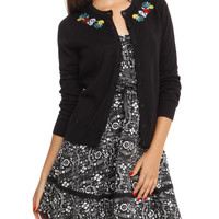 The Book Of Life Black Sugar Skull Embroidered Button Cardigan Pre-Order