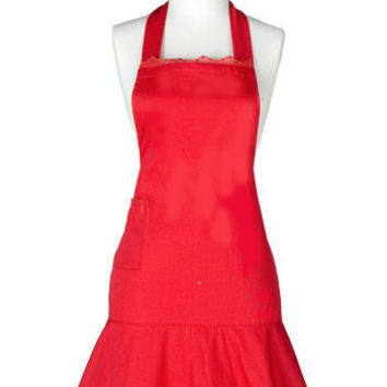 Jessie Steele Hostess Apron Bib Sophia Red Lace