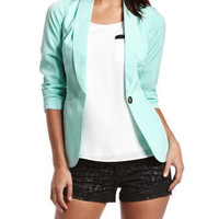 Silky-Knit Mint Blazer