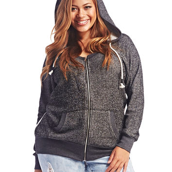Lace Back Zip Front Hoodie | Wet Seal+