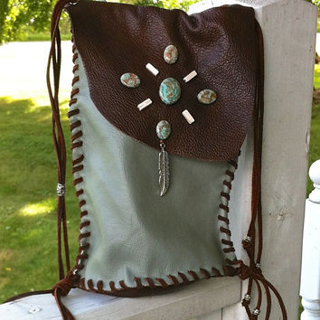 Hand Stitched Leather Pouch / Purse or Cross Body Bag, Fringe, Zebra Jasper Beads & silver feather charm, Boho, Hippie, HoBo Style, Brown