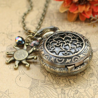 Locket necklace--Vintage pocket watch with antique bronze sun charm and crystal charms