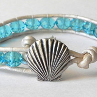Seashell bracelet, Aquamarine Czech Glass Leather Wrap Bracelet