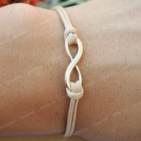 Karma-infinity bracelet, Khaki string karma bracelet for her, gift for him