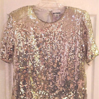 1980&#x27;s Silver Sequin Shirt