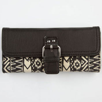 T-Shirt & Jeans Tribal Print Flapover Wallet Black/White One Size For Women 24210112501