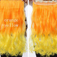 Orange & Yellow Ombre Hair Extensions - Clip in - Wavy - Cosplay Hair Extensions