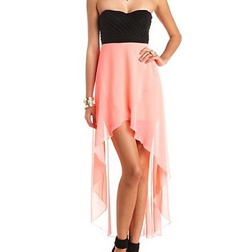 STRAPPY BACK COLOR BLOCK HIGH-LOW DRESS