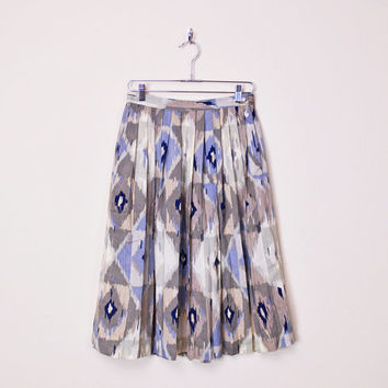 Beige & Blue Southwestern Skirt Southwest Skirt Tribal Skirt Tribal Print Skirt Pleat Skirt Pleat Midi Skirt High Waist Skirt 80s M Medium