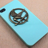 The Hunger Games Logo Mockingjay pendant light green iPhone 4/4S case, Apple iPhone 4 Case, iPhone 4s Case, iPhone 4 Hard Case --- SALE