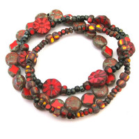 Red Czech Glass Bead Stacking Stretch Bracelets Set of 3 Stack Bracelets