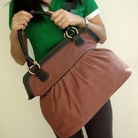Brick Color Sackcloth Handbag