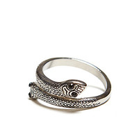 Gypsy Warrior Snake Ring - Womens Jewelry - Silver -