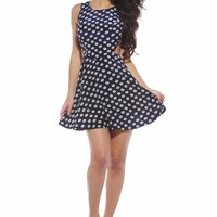 Navy Daisy Print Sleeveless Cutout Dress
