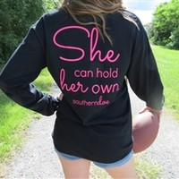 Hold Her Own Long Sleeve Tee - Black