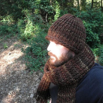 Knit Hat and Scarf Set, Sequoia Color, Adult Men and Women